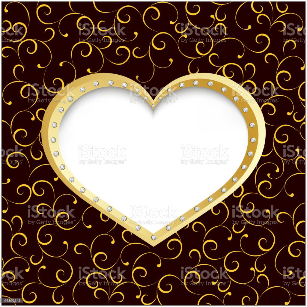 Gold heart frame with diamond royalty-free gold heart frame with diamond stock vector art & more images of abstract