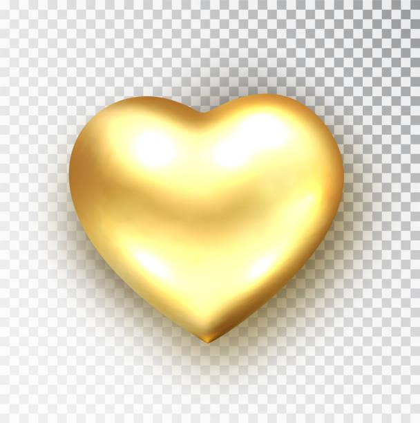 goldherz isoliert. realistischer vektor der metallischen herzform. happy valentine s day design-element. valentinstag oder hochzeit zeichen. liebeskonzept. - clipart goldene hochzeit stock-grafiken, -clipart, -cartoons und -symbole
