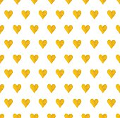 vector seamless pattern with images of cute hand drawn gold hearts on white background
