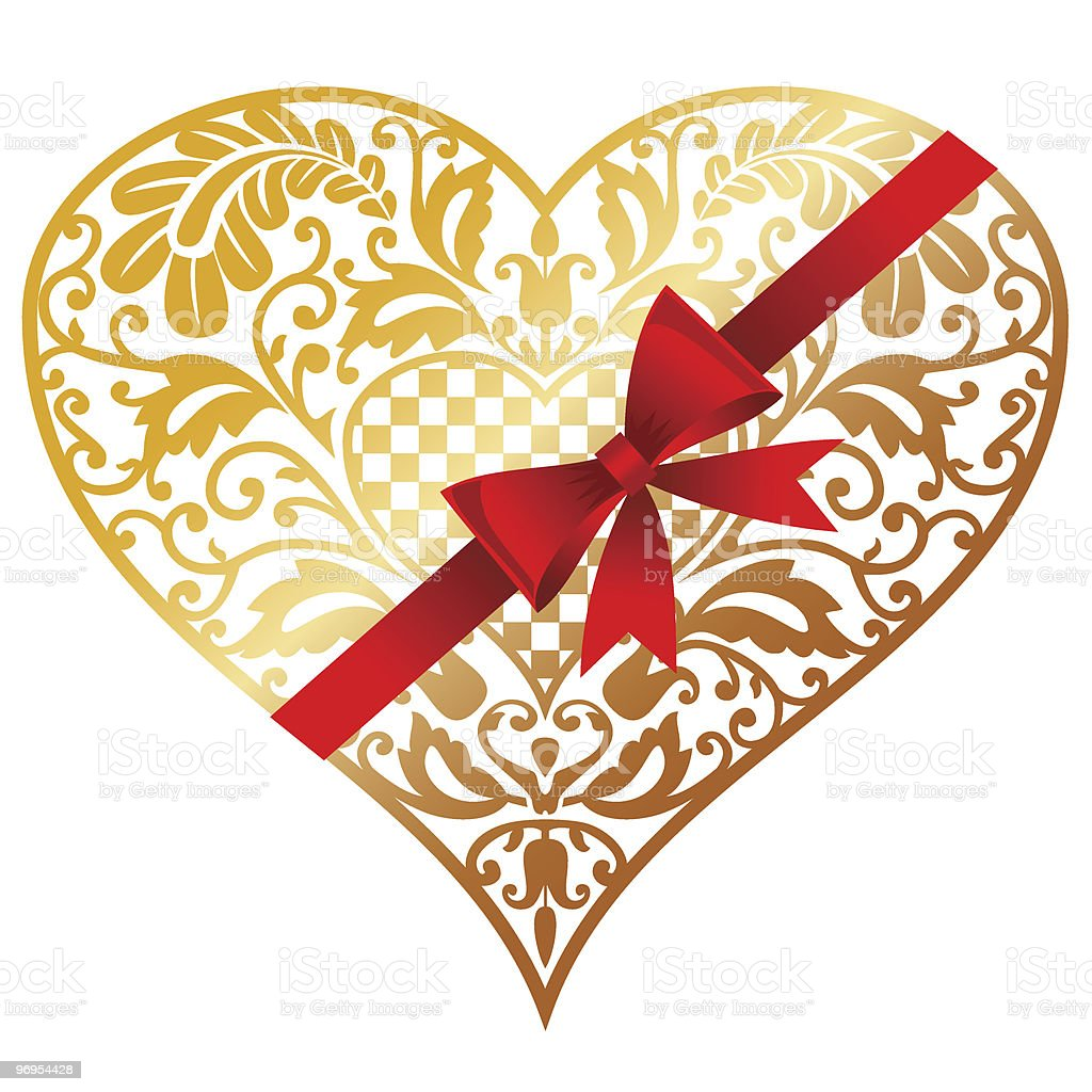Gold heart vector art illustration