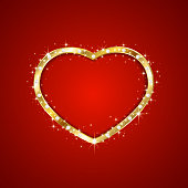Gold heart with diamonds and sparkling stars on red background, illustration.