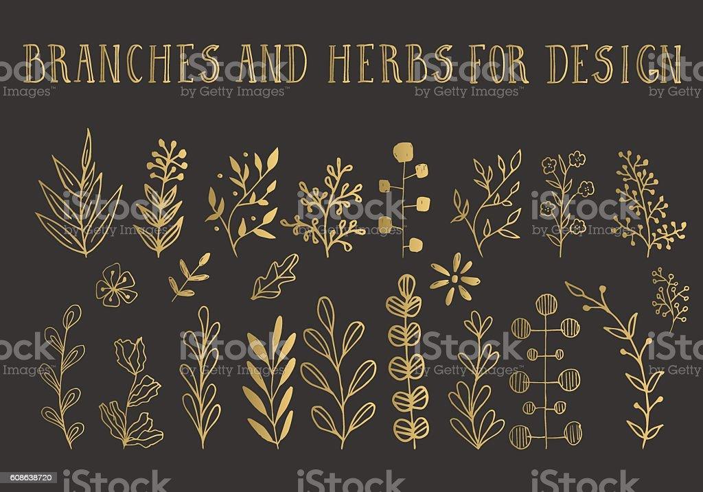 Gold herbs and branches gold herbs and branches vecteurs libres de droits et plus d'images vectorielles de abstrait libre de droits