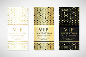 Gold hexagons. Vip invitation templates. Cover design with ornaments. Vector decorative vertical flyers with copy space.