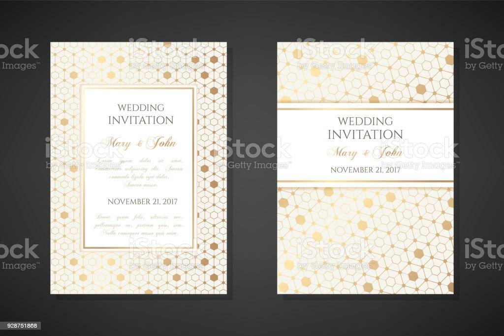 Gold Sechsecke Hochzeit Einladung Vorlagen Stock Vektor Art und mehr ...