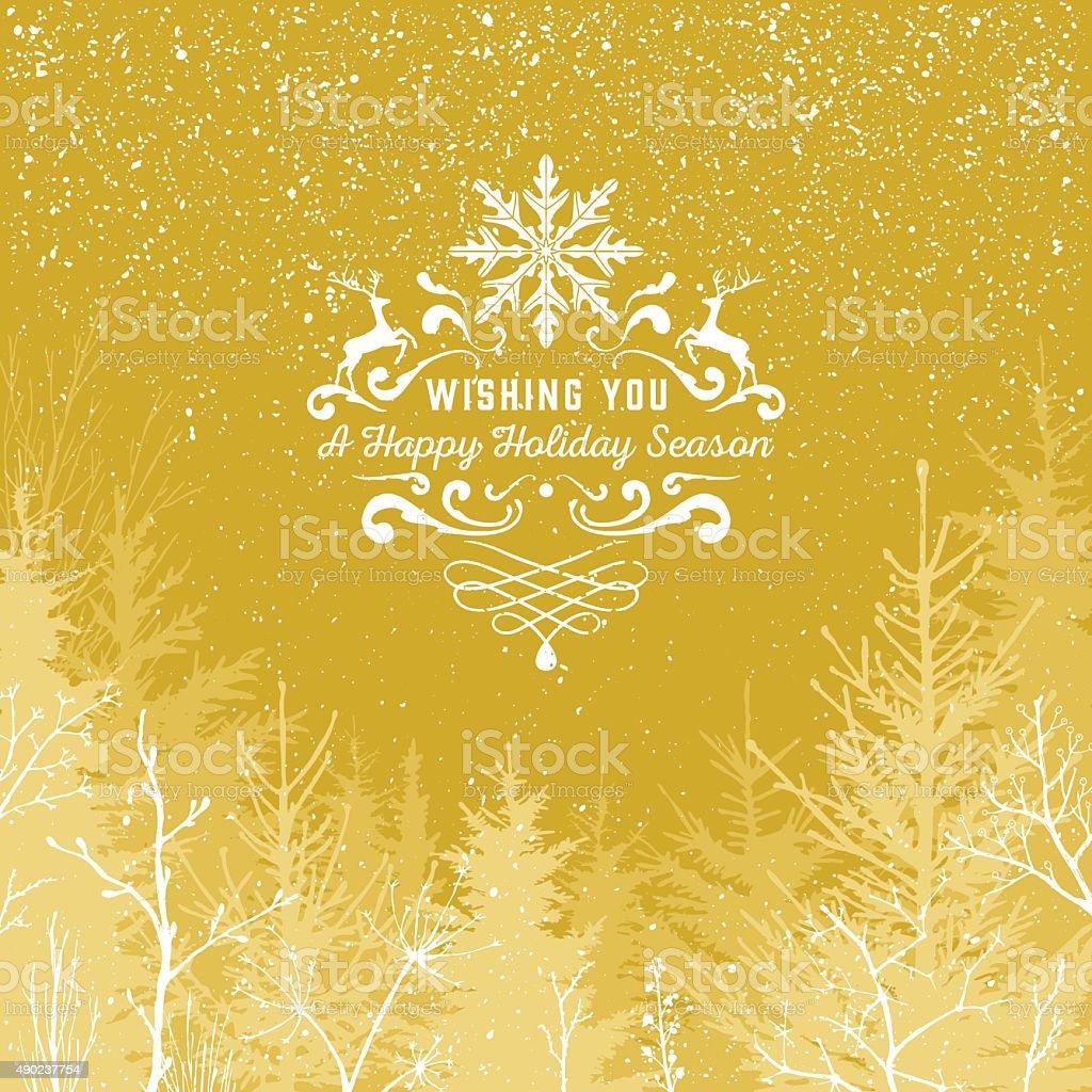 Gold Holiday season vector art illustration