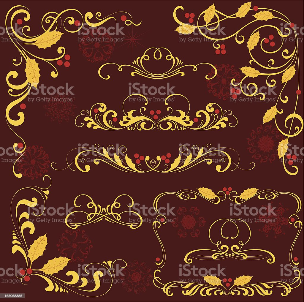 Gold holly ornament royalty-free stock vector art