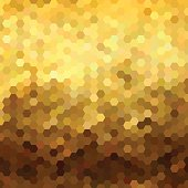 Gold honeycomb seamless pattern low poly geometry