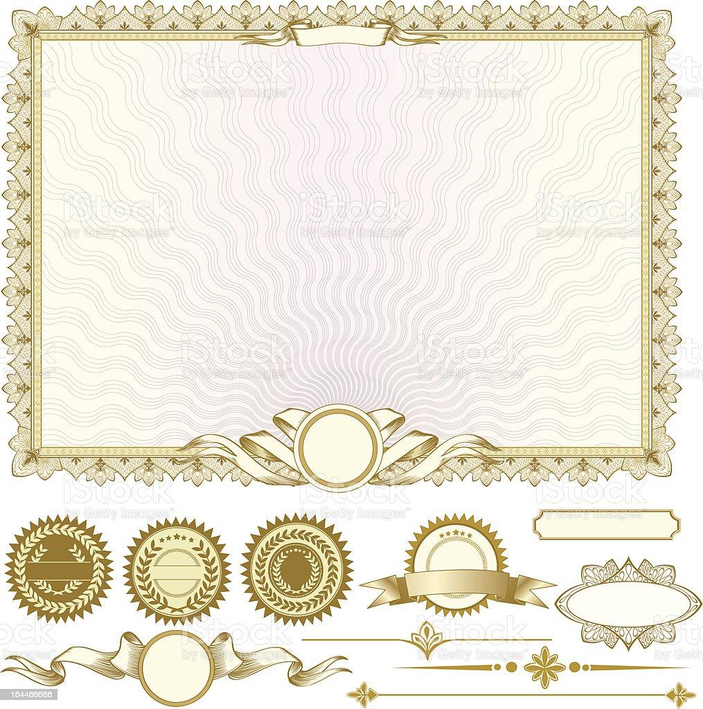 Gold Horizontale Zertifikat Vorlage Mit Zusätzliche Designelemente ...