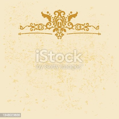 istock Gold horizontal ornament frame. Vintage elegant vector background with grunge and pattern. Gold, yellow color. For invitations, cards, books. 1348023835