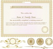 Gold horizontally certificate template with additional design elements