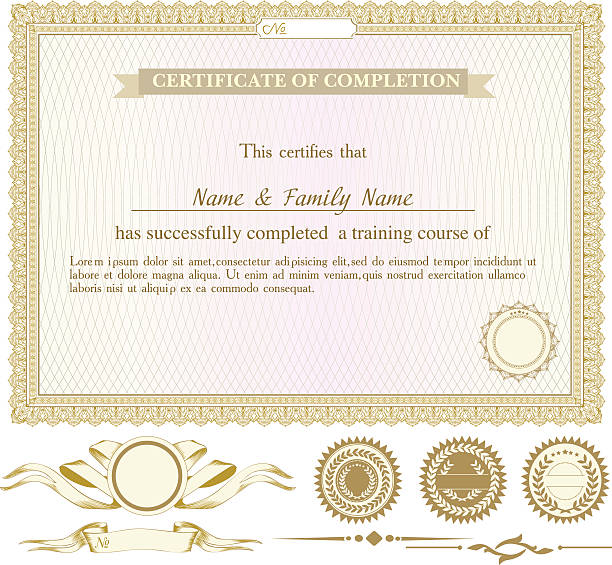 gold horizontally certificate template with additional design elements - certificate and awards frames stock illustrations, clip art, cartoons, & icons