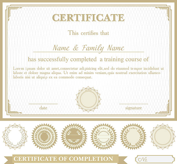 Gold horizontally certificate template with additional design elements Gold horizontally certificate template with additional design elements formalwear stock illustrations