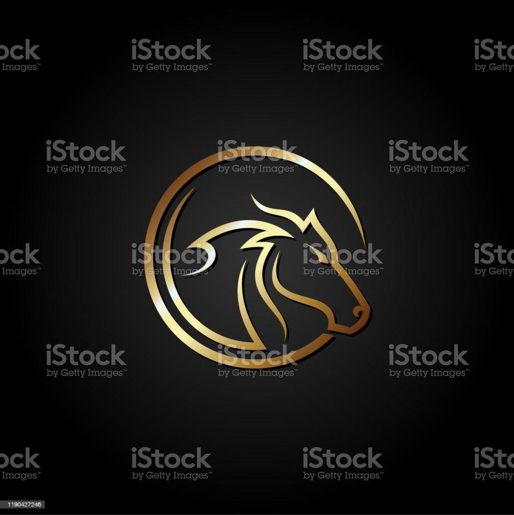 Gold Horse Head Logo Designvector Illustration Isolated On Black Background Stock Illustration Download Image Now Istock