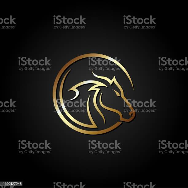 Gold horse head logo designvector illustration isolated on black vector id1190427246?b=1&k=6&m=1190427246&s=612x612&h=vocutoh3ywokhipnbfu7vslsuzzelpivh1bzkdyizjk=