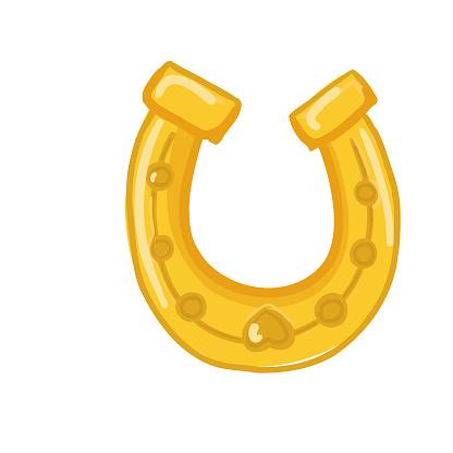 Gold horseshoe icon isolated on white background.