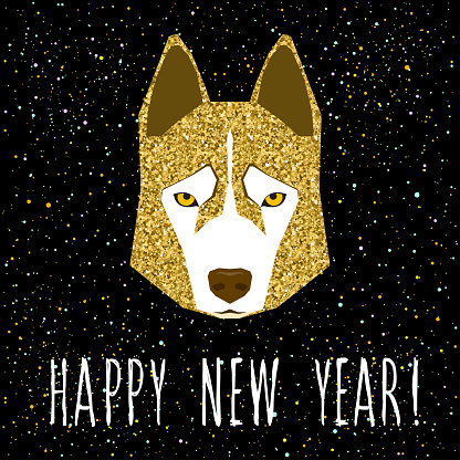 Gold husky dog and handwritten quote for design new year card