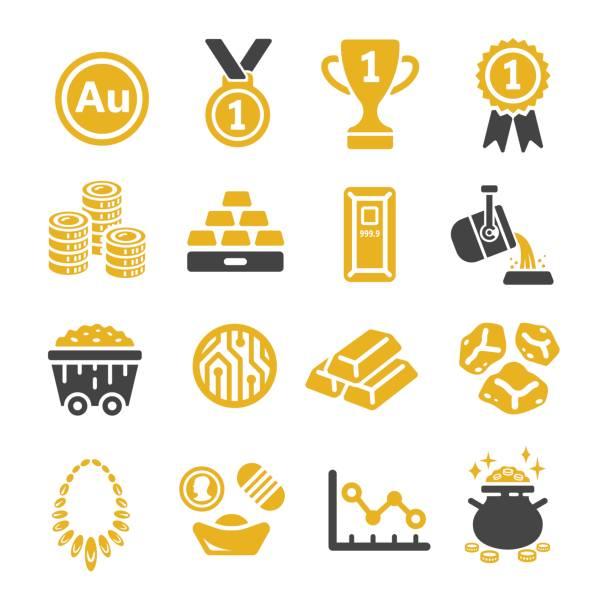 gold icon gold iconset,vector illustration ingot stock illustrations