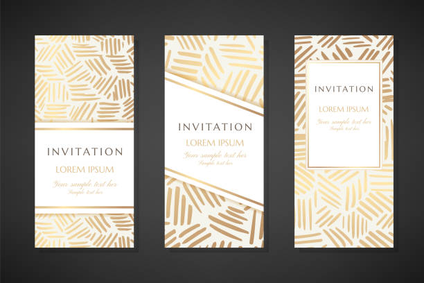 gold ink lines. invitation templates. cover design with ornaments. - anniversary patterns stock illustrations
