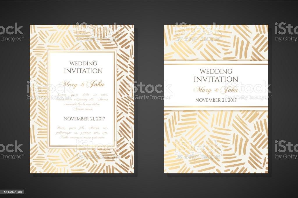 Gold ink lines. Wedding invitation templates. vector art illustration