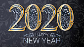 Gold inscription Happy New Year 2020. Refined leafy silver jewelry patterns. Gold numbers with pearls. Vector illustration. Template for decorating gift boxes, Christmas invitation cards, brochures.