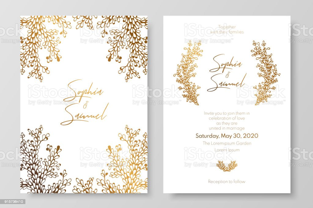 Gold invitation with floral branches. Gold cards templates for save the date, wedding invites, greeting cards, postcards. vector art illustration