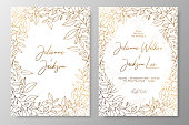 Gold invitation with frame of leaves. Gold cards templates for save the date, wedding invites, greeting cards, postcards, thank you card, menu, flyer and backgrounds.