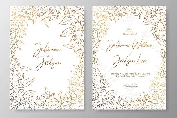 Gold invitation with frame of leaves. Gold cards templates for save the date, wedding invites, greeting cards, postcards, thank you card, menu, flyer and backgrounds. Gold invitation with frame of leaves. Gold cards templates for save the date, wedding invites, greeting cards, postcards, thank you card, menu, flyer and backgrounds. invitational stock illustrations
