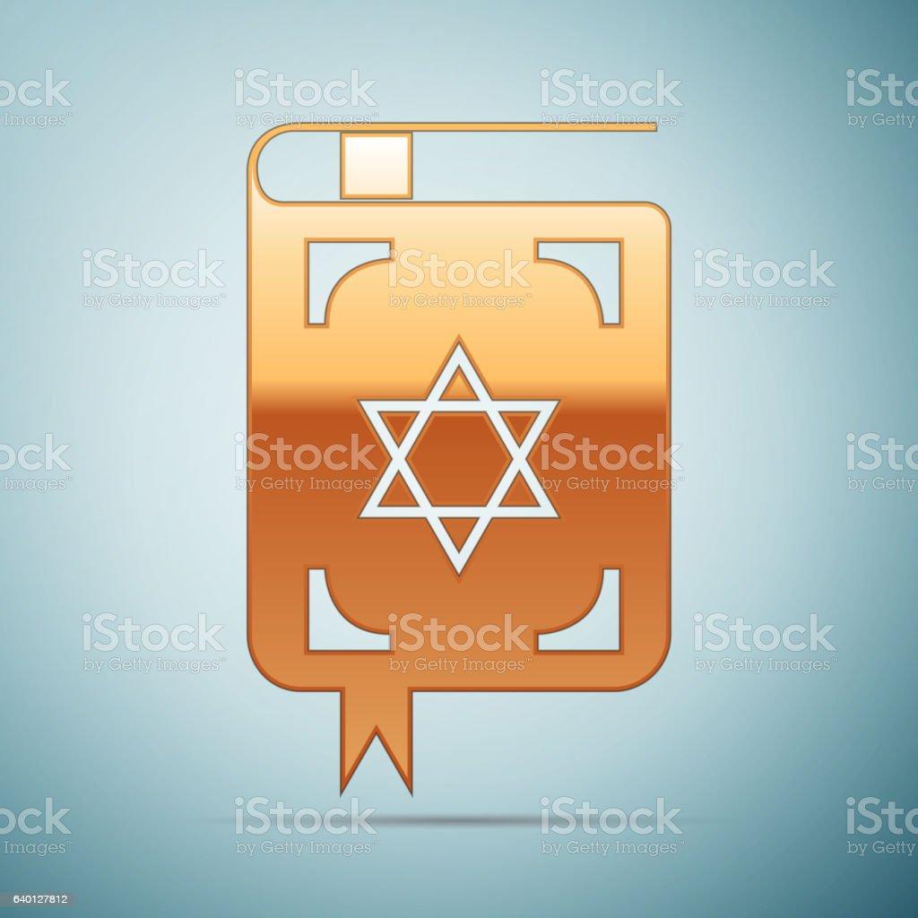 Gold Jewish torah book icon on blue background. Vector Illustration vector art illustration