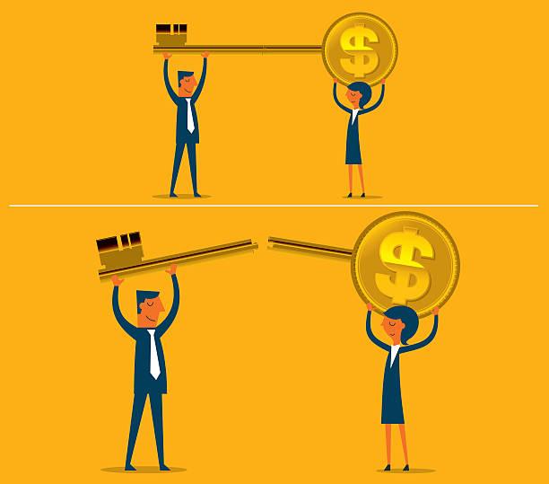 gold key - schlüsselfertig stock-grafiken, -clipart, -cartoons und -symbole