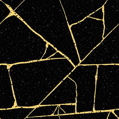 Gold kintsugi crack vector seamless pattern background. Golden irregular joined lines on black backdrop. Japanese art inspired broken marble luxury stone effect. Hand crafted elegant all over print.