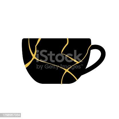 istock Gold kintsugi Japanese Art of Repairing cup 1298957034