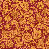 Gold lace on red background. Seamless pattern.