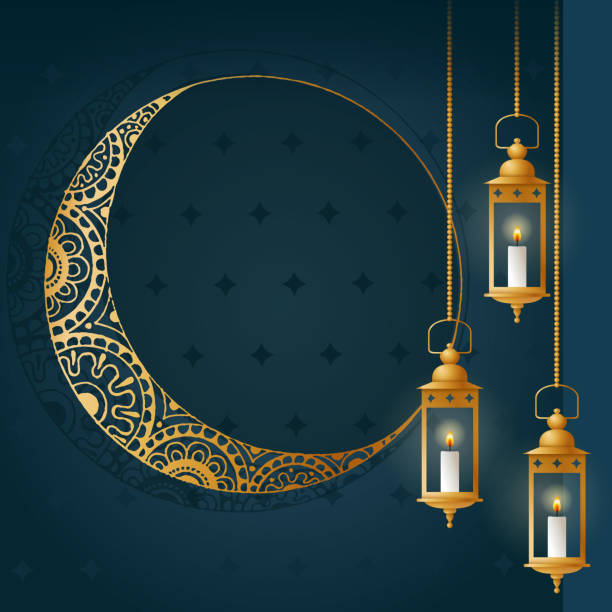 Gold lanterns abstract background. Islamic holidays design template - illustrazione arte vettoriale