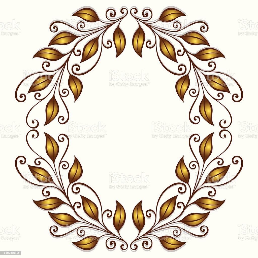 Gold Laurel Wreath vector art illustration