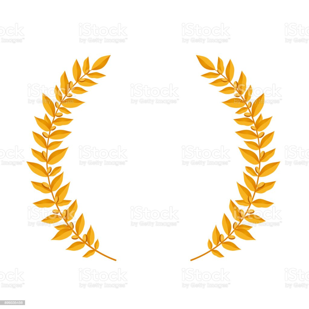 Gold Laurel Wreath Vintage Wreaths Heraldic Design Elements With ...