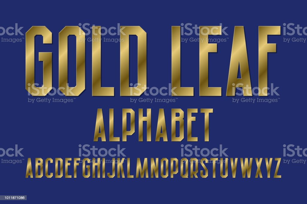 Gold leaf alphabet. High letters retro font. Isolated English...