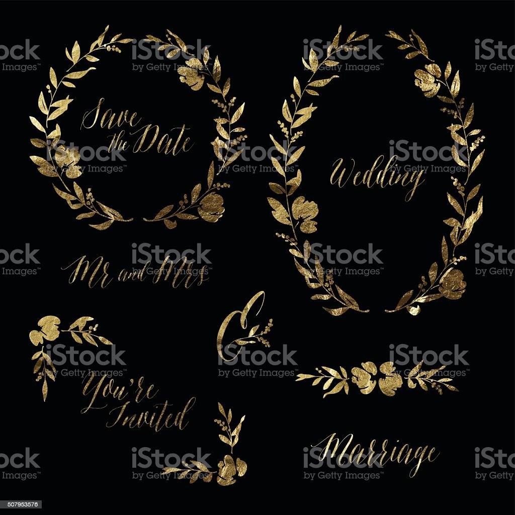 Gold Leaf Wedding Invitation Design Elements vector art illustration
