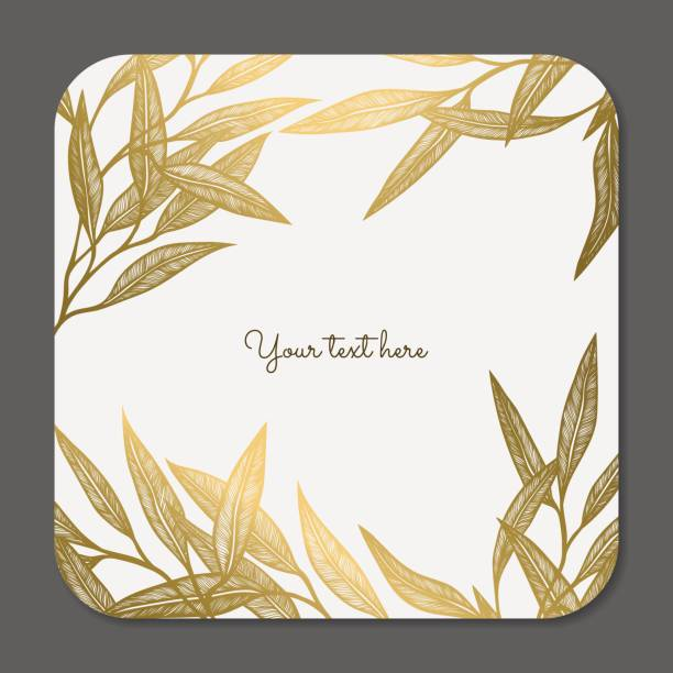 Gold leaves Vector decorative collection of floral frame invitational stock illustrations