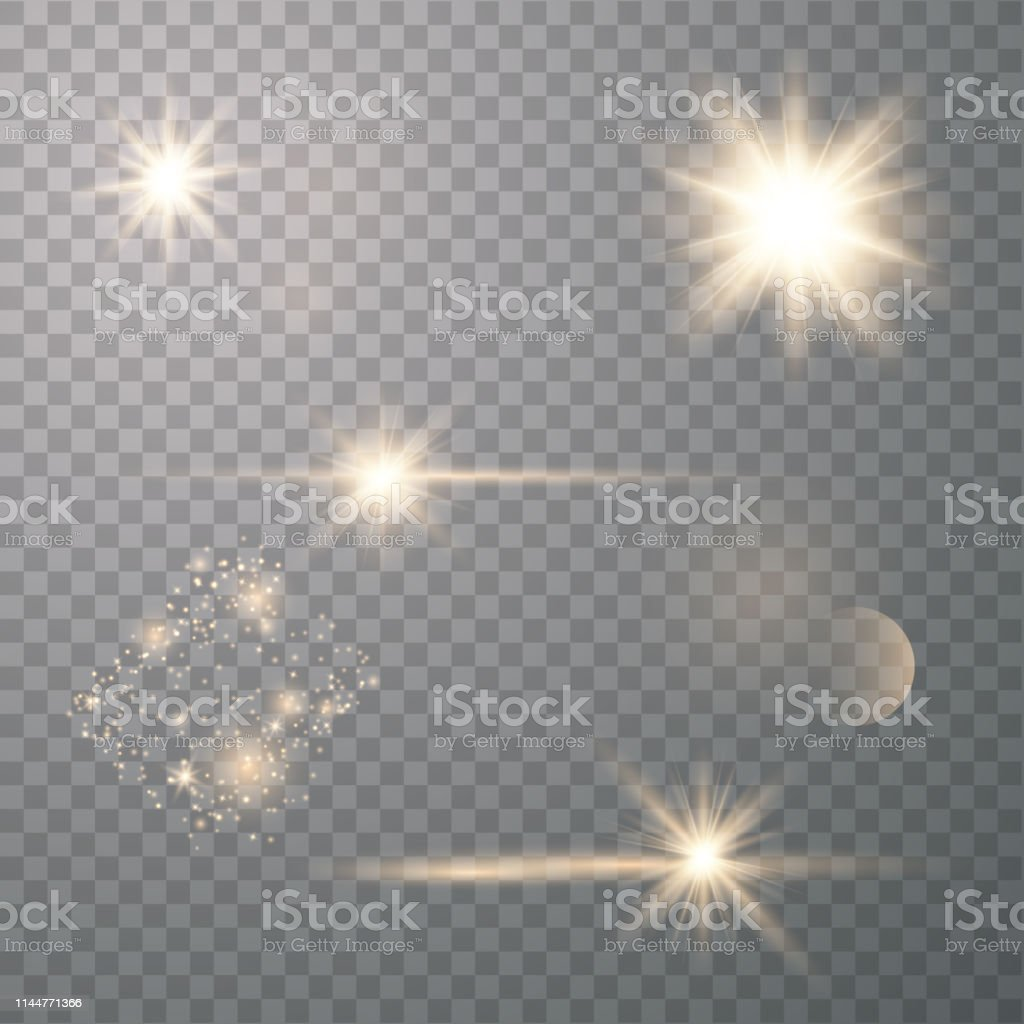 Gold lens flares. Glowing sunlights. Vector light effect