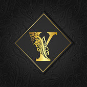 Gold letter Y with elegant flower contour isolated on floral separate background. Premium letter or background great for logo, emblem, monogram, invitation, brand name, card, cover,fashion.Royal Style
