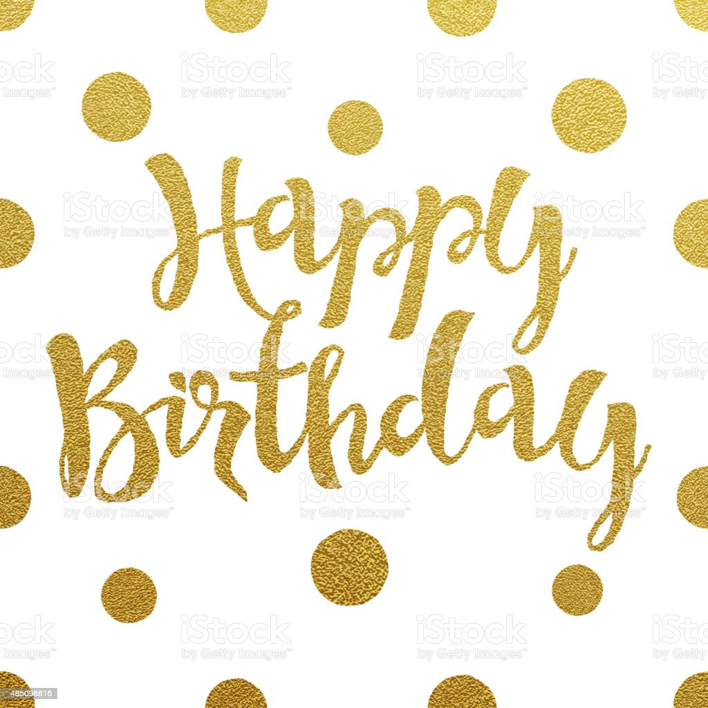 Gold lettering design for card Happy Birthday vector art illustration