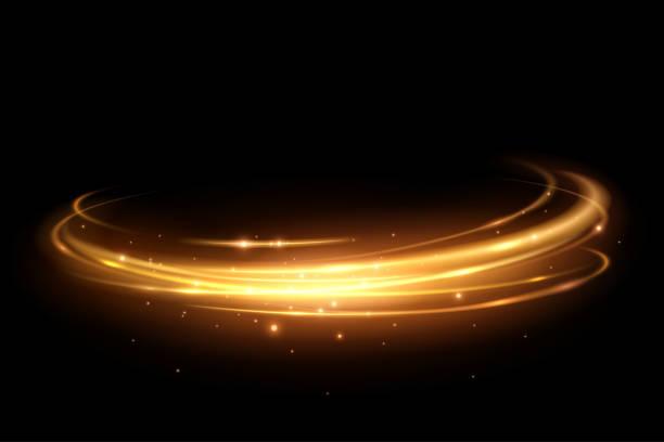 złoty okrąg świetlny - efekty fotograficzne stock illustrations