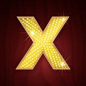 Gold light lamp bulb letter X