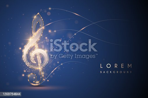 Gold light music note on blue background in vector