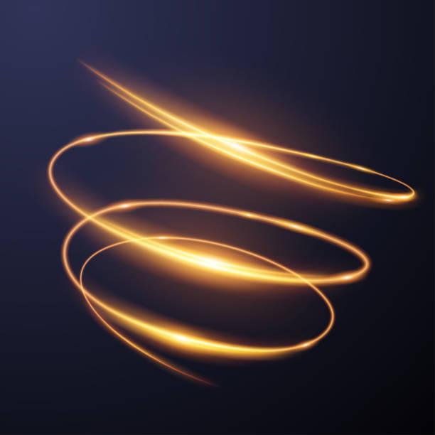 efekt złotej spirali świetlnej - efekty fotograficzne stock illustrations