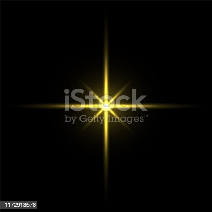 Gold light star on black background