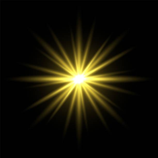 黒い背景に金色の光の星 - 光 黒背景点のイラスト素材/クリップアート素材/マンガ素材/アイコン素材