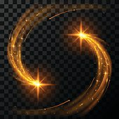 Gold light stars in vector