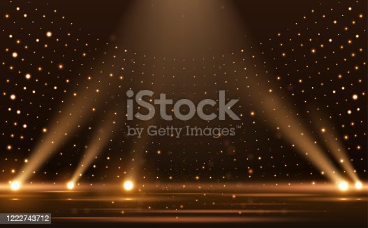 istock Gold lights rays scene background 1222743712