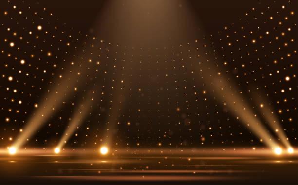 Gold lights rays scene background Gold lights rays scene background in vector spot lit stock illustrations
